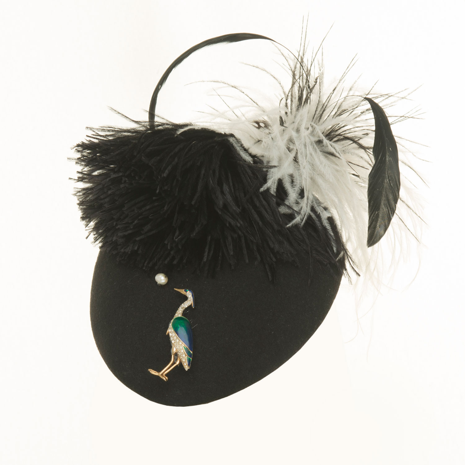 PEAR STORK AND FEATHER PILLBOX HAT