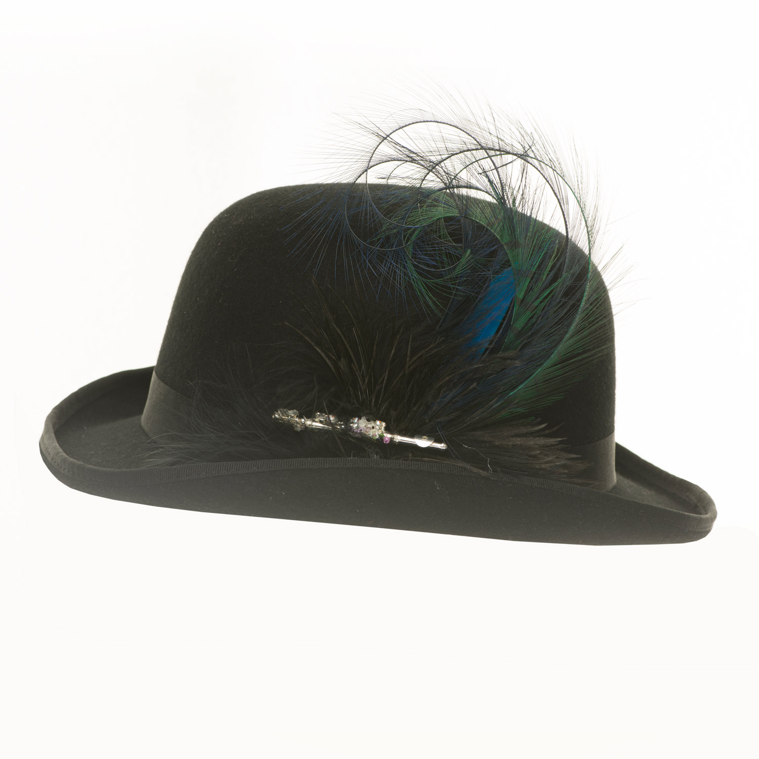 BOWLER HAT WITH BURNT FEATHERS
