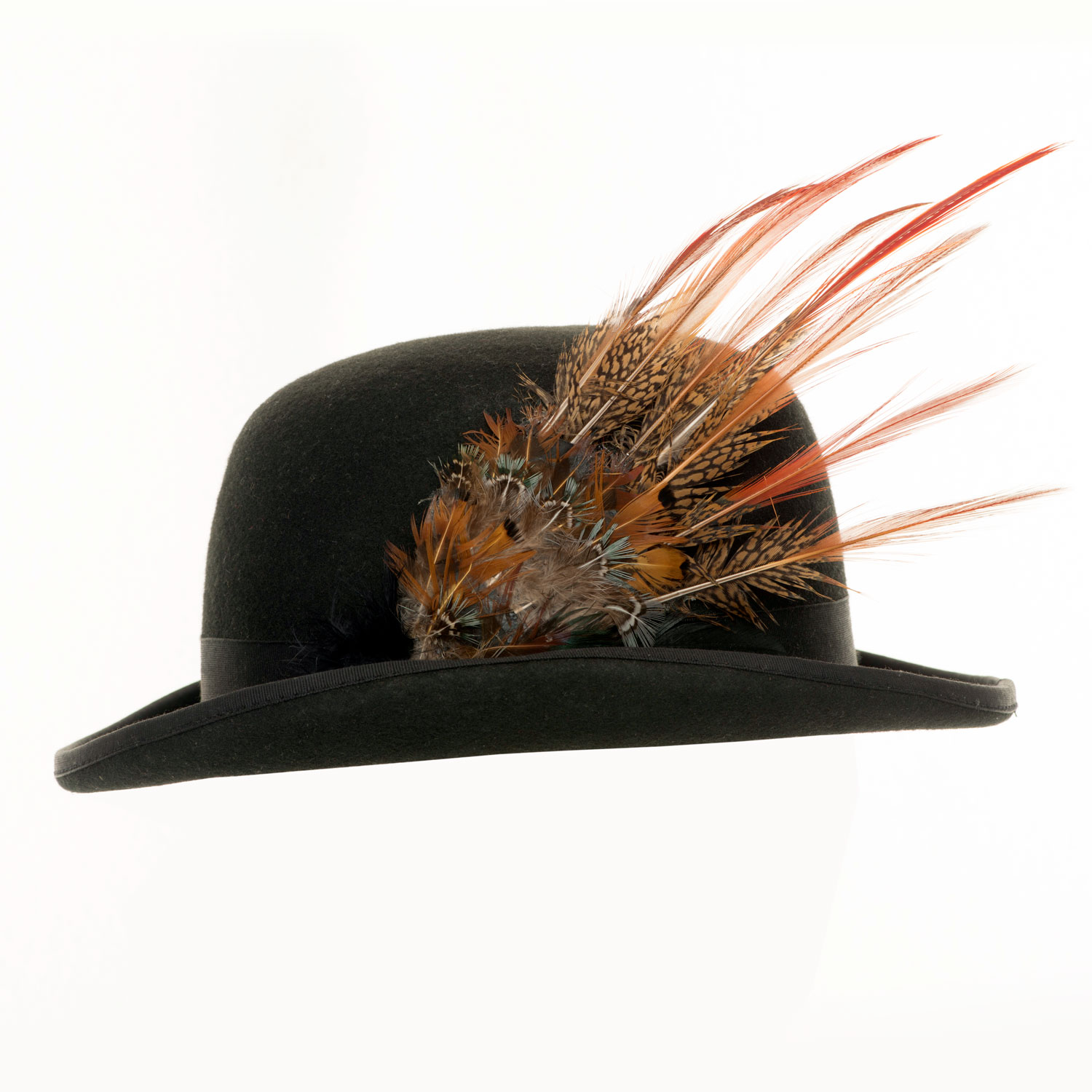 VINTAGE BOWLER HAT WITH PHEASANT FEATHERS
