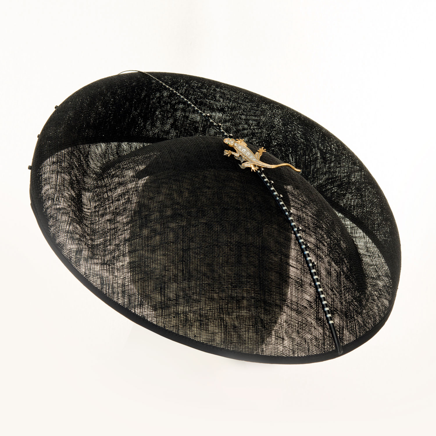 WIDE BLACK REPTILE HAT WITH BLUE CRYSTALS