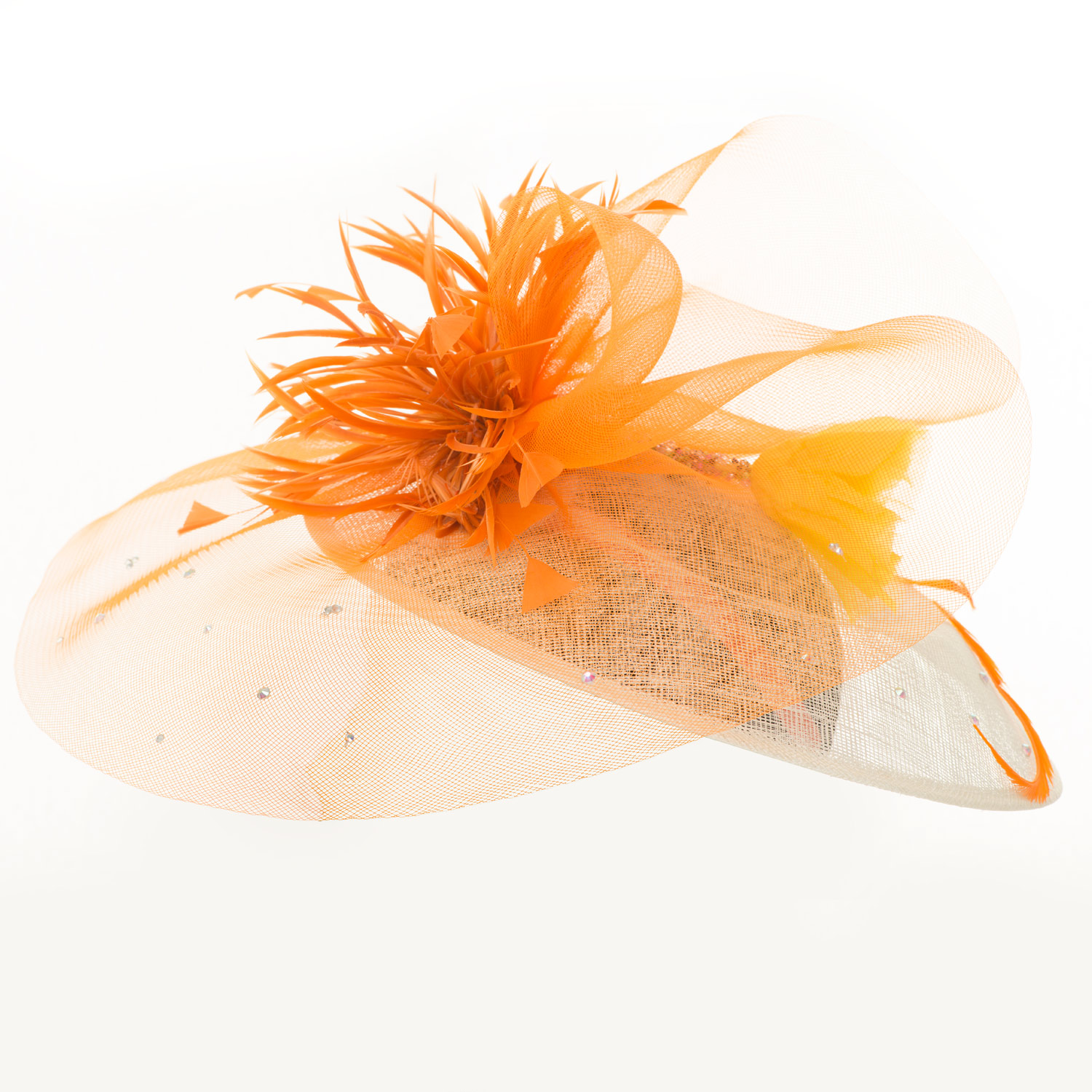 SINAMAY AND CRIN ORANGE FEATHERS HAT