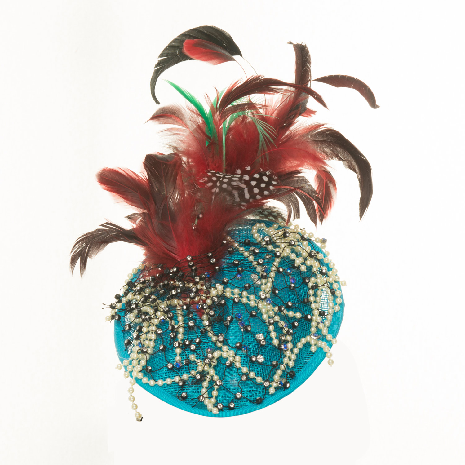 TURQUOISE PEARL AND FEATHER PILLBOX HAT